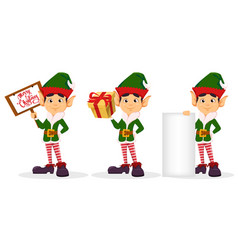 elf set of three poses vector image