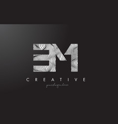 Em e m letter logo with zebra lines texture vector