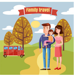 family travel characters dad mom and daughter vector image