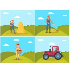 Farmer feeding hens on field vector