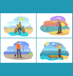 fisherman fishing from platform and from bank vector image