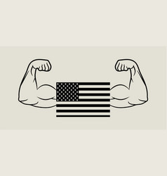 flag american and hands biceps in flat design vector image