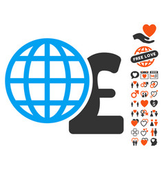 Global pound finances icon with love bonus vector