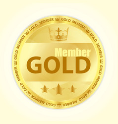 Gold member badge with royal crown and three vector