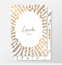 Gold wedding invitation with lavenders gold cards vector