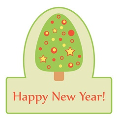 Green label with cute Christmas tree vector