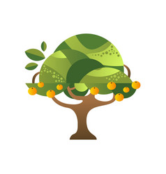 green tree with oranges garden plant with ripe vector image