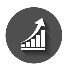growth chart icon grow diagram flat business vector image