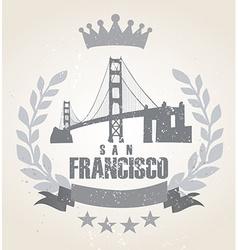 Grunge San Franciso icon laurel weath vector