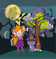 halloween kids cartoons vector image