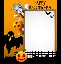 Halloween sign with black ghost and kid pumpkin ma vector