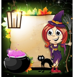 Halloween witch with a cauldron and black cat vector