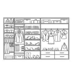 Hand drawn monochrome family wardrobe concept vector