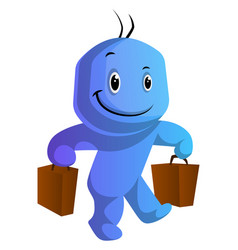 happy blue cartoon caracter with bags on white vector image