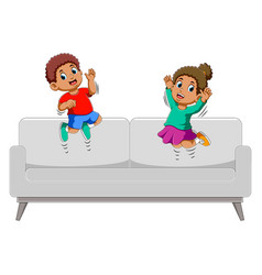 Happy boy and girl jumping on sofa vector