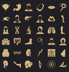 Healthcare professional icons set simple style vector