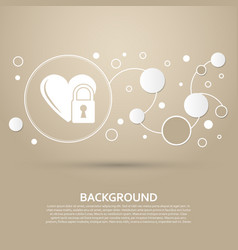 heart lock icon on a brown background with vector image