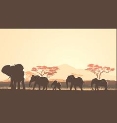 Horizontal wild animals in african sunset vector