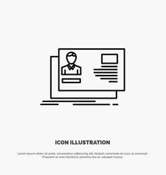 Id user identity card invitation line icon vector