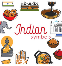 indian symbols promo banner with famous national vector image