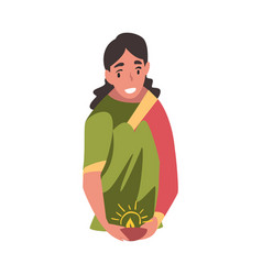 indian young woman in traditional clothes with vector image