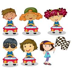 Kids car racing vector image