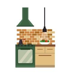 Kitchen interior flat style vector image