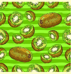 Kiwi seamless pattern green striped fruit vector