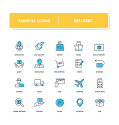 Line icons set delivery vector