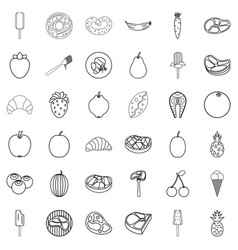 lunch icons set outline style vector image