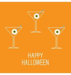 Martini set with eyeballs Happy Halloween card vector
