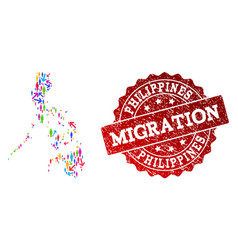 Migration composition of mosaic map of philippines vector