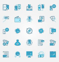 money and cashback blue concept icons vector image