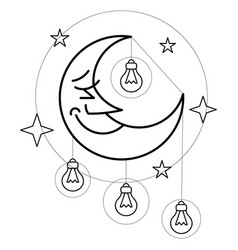moon black and white with stars and light bulb vector image