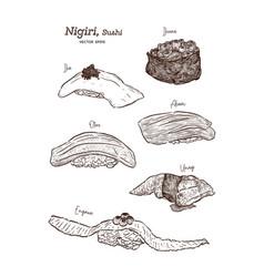 nigiri set hand draw sketch vector image