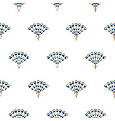 Peacock fan seamless pattern vector
