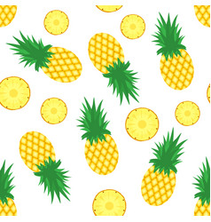 Pineapple background fresh pineapples and slices vector