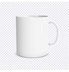 realistic white cup isolated on transparent vector image