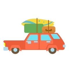 Red hatchback car with cargo luggage icon vector