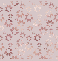 Rose gold luxury texture with floral silhouettes vector