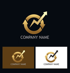 round arrow circle gold logo vector image