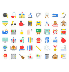 school and education related icon set in flat vector image