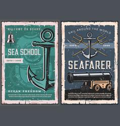 sea school marine nautical vintage posters vector image