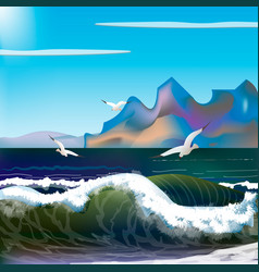 Sea with waves and mountains vector