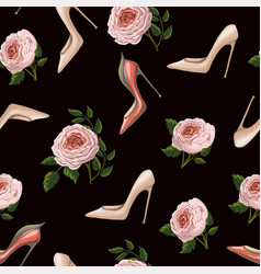 seamless pattern with roses and shoes vector image