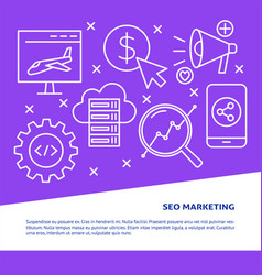 seo marketing poster in line style with place for vector image