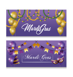 set balloons with party hat and mask to merdi gras vector image
