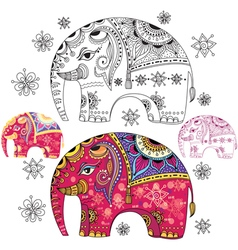 Set of abstract decorative elephants vector image