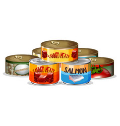 set of canned food vector image