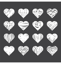 Set of hand drawn hearts on black background vector image vector image